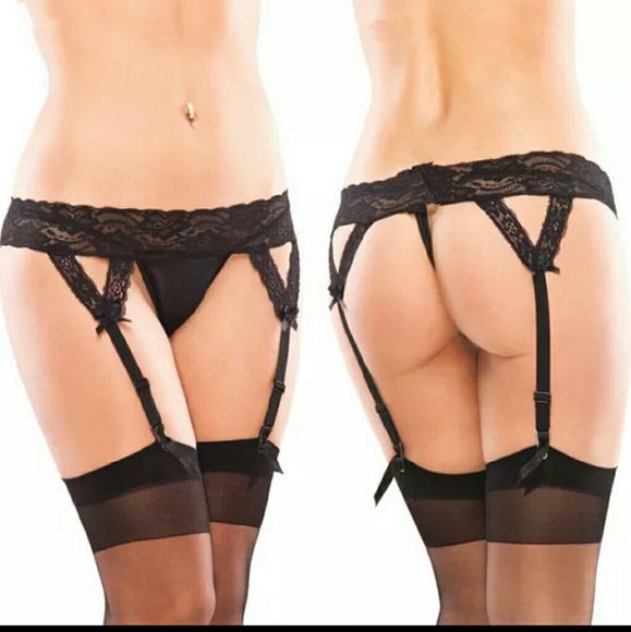 45a9344819 Floral Lace G-string Panties   Garter Belt