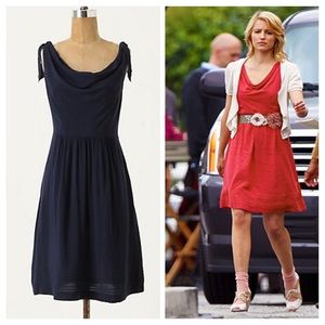 Anthropologie Tied Down Dress Navy
