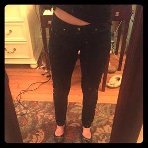 Paige Peg Skinny Jeans, Dark Blue, Size 26