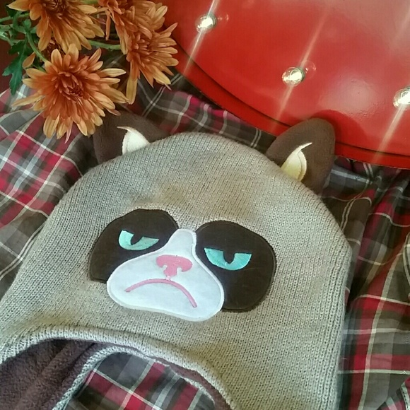 Unisex Grumpy Cat Go Away Knit Cap Fine Knit Beanie Hats for Mens Womens