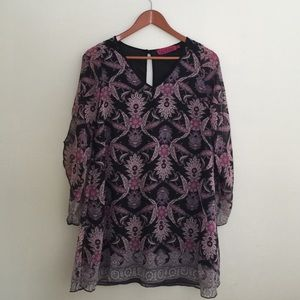 Lilac & Black Acid Print Mini Tunic Style Dress