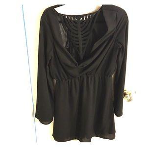 Black bell sleeved minidress