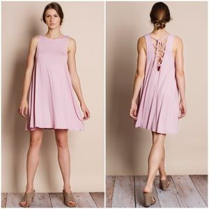 Lace Up Back Tank Dress