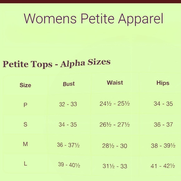 wholesale sales reputable site on feet at PETITE SIZE CHART