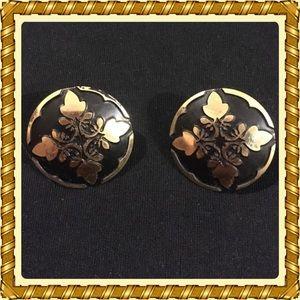 Black & Gold Hawaiian Quilt pattern earrings