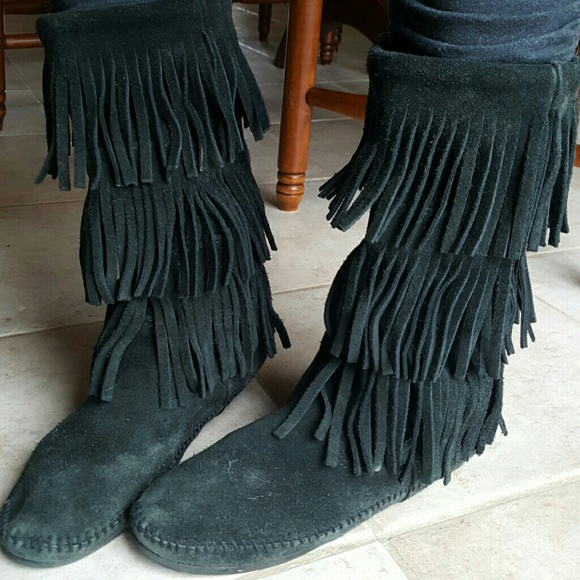 black single men in minnetonka Men's clothing  vintage minnetonka black suede moccasins fringed ankle boots womens size 8  because here they come there are 477 minnetonka moccasins for sale.