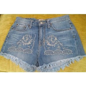Free People Pants - Free People Embroidered Cut Off Shorts