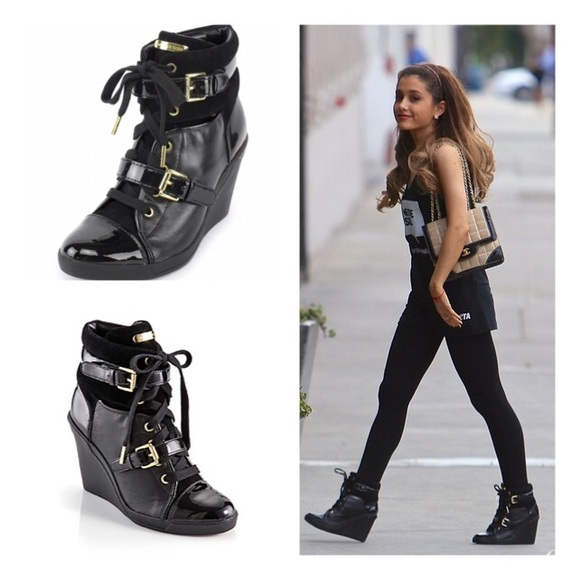 6c1b6c1fcae Michael Kors Black Gold Skid Wedge Sneakers. M 571f9b21b4188ec2900002e8