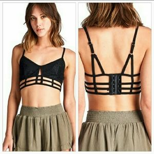 April Spirit Other - Black strappy and lace cage style bralette!!