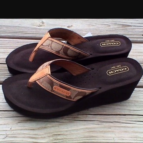 c97a0ccf53d4 Coach Shoes - Coach Juliet Canvas Wedge Sandal flip flops 7.5