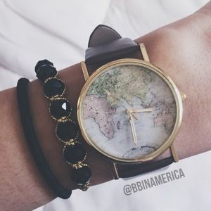 Sale! World map watch brown faux leather globe