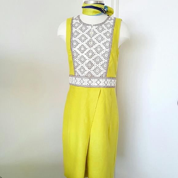 8eb6fedb592 TORY BURCH embellished yellow linen shift dress. M 571fb7f42599feaca4002d25