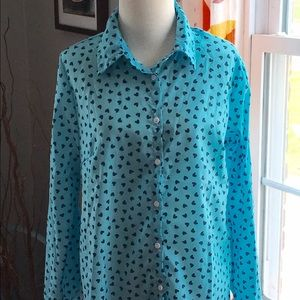 Tops - ❤️ button down blue blouse, large ish