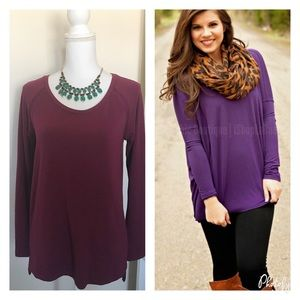 Kenar Tops - Long Sleeve Purple knit top