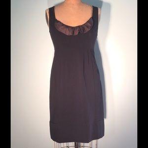Anthropologie Dresses & Skirts - Anthropologie black faille sheath w/satin ruffle