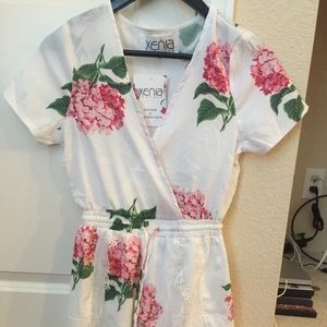 Floral and eyelash lace romper