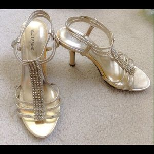 Shoes - Gold Sandals with Rhinestones.