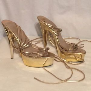 Gold platform shoes extremely sexy high heels 8.5