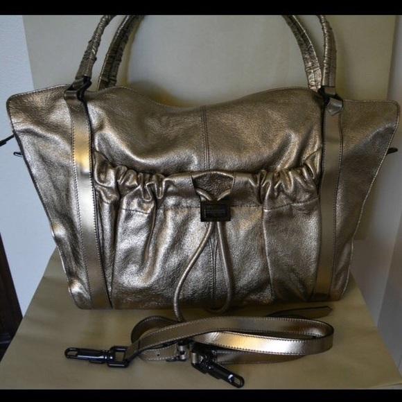 afdec0b40df4 Burberry Handbags - BURBERRY Bronze Metallic Leather Warrior Tote Bag