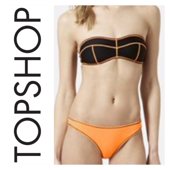 41ae19c6f9297 Topshop Swim   Sale Black Contrast Stitch Neon Bikini   Poshmark