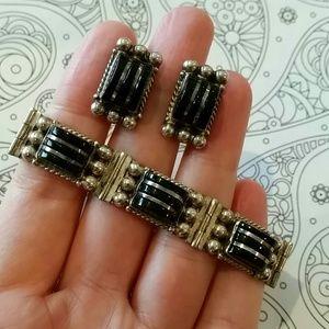 Vintage Jewelry - Vintage Diaz Santoyo Mexico Sterling/Onyx Set