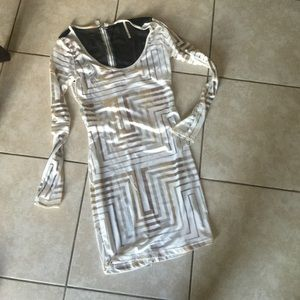 White silver and gold boutique club dress