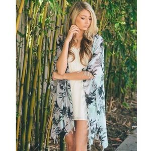 Leto Accessories - Mint Tropical Palm Tree Kimono / Scarf