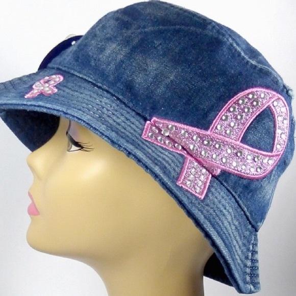 Breast Cancer Rhinestone distressed bucket hats 22f4e606e292