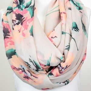 Floral Taupe Spring Infinity Lightweight Scarf