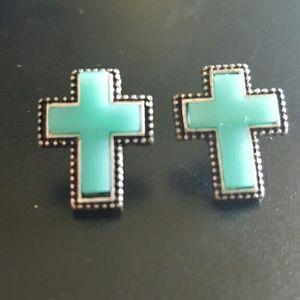 Turquoise Cross Christian Earring Posts