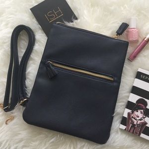 Crossbody faux saffiano bag