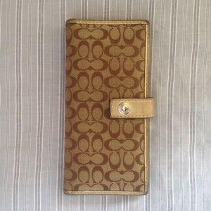 Coach signature gold wallet