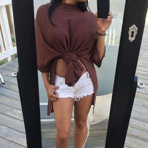 Tops - Closet Clear out💥 Dark mocha high slit tunic