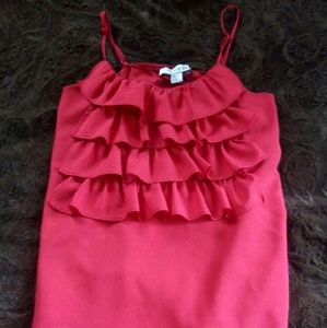 Forever 21 Red ruffle front blouse size small