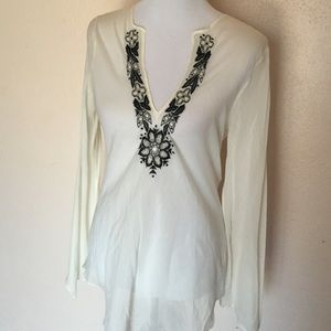 Theory Sheer embroidered Tunic