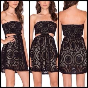 Sky Dresses & Skirts - SKY ♠️ Strapless Lace Mini w Cut Outs NWT