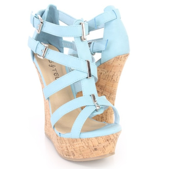 Shoes | Sexy Light Blue Wedges Sandals