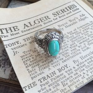 White Gold Plated Turquoise Ring