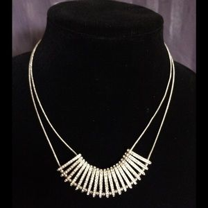  Silver and rhinestone necklace