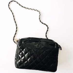 CHANEL Handbags - Authentic Vintage CHANEL Black Patent Leather Bag