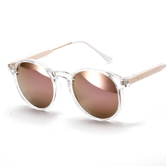 Accessories | Clear Frame Rose Gold Mirrored Sunglasses | Poshmark