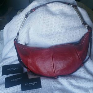 owned authentic ysl yves saint laurent large oxblood red muse satchel purse