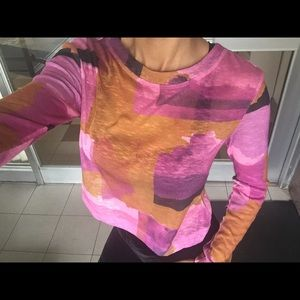 Color block pattern cropped long sleeve😍💗