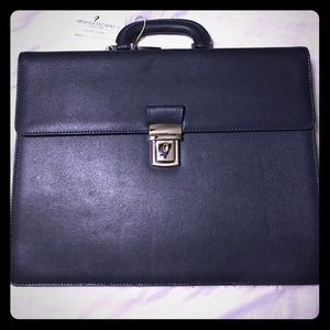 Alberta di Canio Handbags - Navy blue saffiano leather briefcase