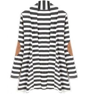 Sweaters - 💟Long Sleeve Striped Cardigan with Elbow Patches!