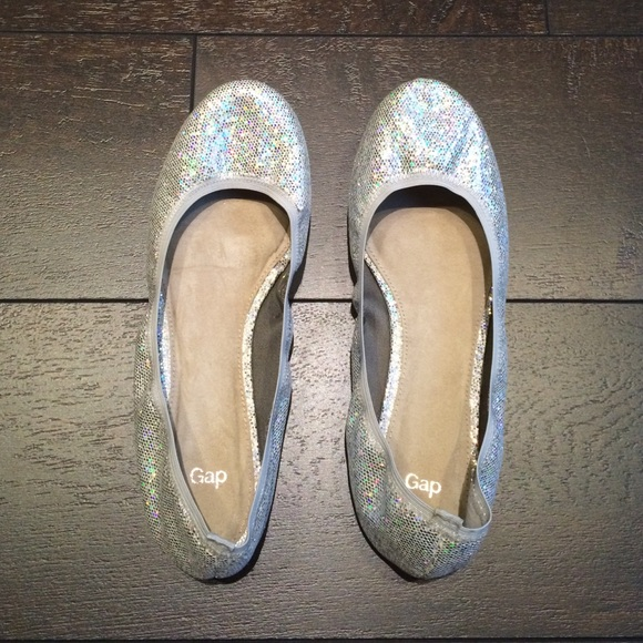 Gap Shoes Womens Silver Glitter Ballet Flats Poshmark