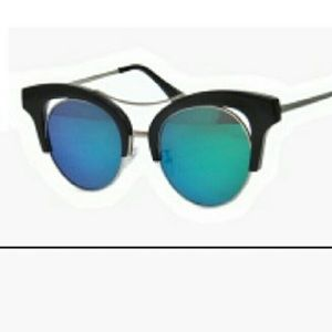 Retro Chic Accessories - Retro Flat Lens Mirrored Aviator Sunglasses