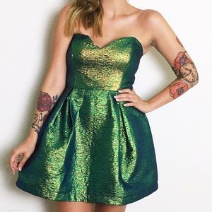 ASOS Dresses & Skirts - Metallic Green Strapless Mini Dress