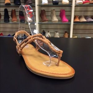 Camel Leather Braided Sandals