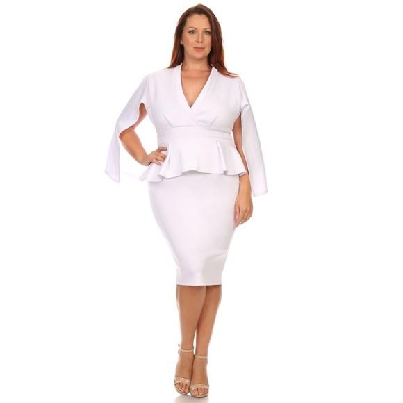 Dresses White Plus Size Peplum Cape Dress Poshmark